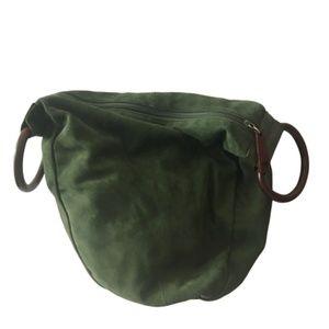 NWOT KENNETH COLE Dark Green Suede + Wood Hobo Bag
